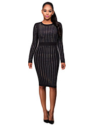 Women's Casual/Daily / Holiday Simple Slim Hot Fix Rhinestone Bodycon DressStriped Round Neck Knee-length Long Sleeve