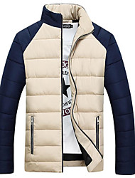 Men's Regular Padded Coat,Simple Casual/Daily Solid-Polyester Polypropylene Long Sleeve Stand Beige