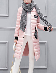 Women's Long Padded Coat Street chic Casual/Daily Patchwork-Polyester Cotton Stand Pink /Red /Black /Gray /Light Green /Army Green Winter