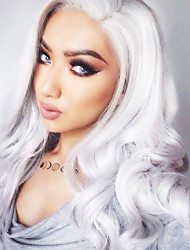 Fashion White Sivery  Long Wavy Synthetic Wigs European Style Beauty Platinum White Color Body Wavy 80CM Heat Resistant Wigs For Women