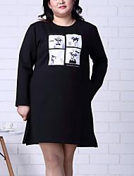 Feminino Bainha Vestido,Tamanhos Grandes / Happy-Hour Simples Estampado Decote Redondo Acima do Joelho Manga Longa PretoAlgodão /