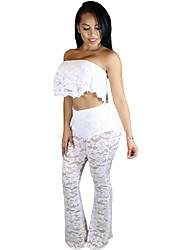 Ruffle Lace Crop Top Wide Leg Pant Set