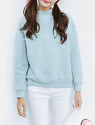 Women's Casual/Daily Simple Regular Hoodies,Solid Blue / Pink / Red / Gray Round Neck Long Sleeve Cotton Fall / Winter Medium