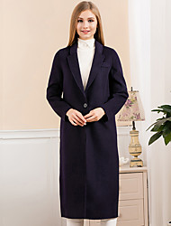 Women's Going out Simple Coat,Solid Notch Lapel Long Sleeve Winter Blue / Red / Gray Wool Medium