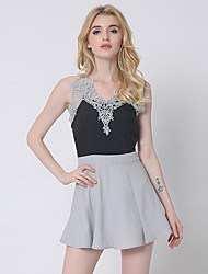 1287 Women's Casual/Daily / Club Sexy A Line DressSolid Strap Above Knee Sleeveless Brown / Gray Cotton