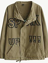 Damen Stickerei / Buchstabe Einfach Lässig/Alltäglich Jacke,Winter Langarm Grün Baumwolle