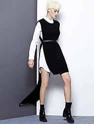 Mujer Largo Pullover Noche / Casual/Diario Simple,Un Color Negro Escote Redondo Sin Mangas Lana / Pelo de Conejo / Rayón / NailonOtoño /