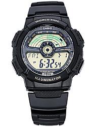 Hommes Montre de Sport Quartz LED Calendrier Chronographe Chronomètre Caoutchouc Bande Pour tous les jours Noir