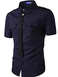 Мужчины На каждый день Лето Рубашка Рубашечный воротник,Простое Однотонный Синий / Белый / Черный / Зеленый С короткими рукавами,Хлопок,