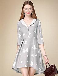 DOF Women's Casual/Daily Simple A Line DressAnimal Print V Neck Above Knee  Length Sleeve Gray Cotton Fall High