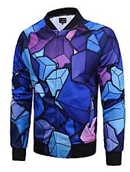 Veste Hommes,Imprimé Habillées / Soirée / Grandes Tailles simple / Chic de Rue / Actif Manches Longues Col en V Bleu Coton / Polyester Fin