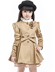 Girl's Self-belt 3D Rose Solid Long Patchwork Thickness Cotton-padded Jacket Trench Coat