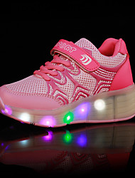 Girl's Athletic Shoes Spring / Summer / Fall / Winter Comfort PU Outdoor / Athletic / Casual Wedge Heel Buckle / LED Black / Blue / Pink