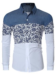 Men's Casual/Daily Simple Spring / Fall ShirtFloral / Patchwork Shirt Collar Long Sleeve Blue / Red Cotton Medium Hot Sale