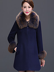 Women's Plus Size / Party/Cocktail Vintage / Sophisticated Coat,Solid Shirt Collar Long Sleeve Winter Blue / Red Wool Thick