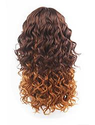 novo estilo de castanha cabelo castanho rendas frente de onda solta perucas de cabelo sintético rendas