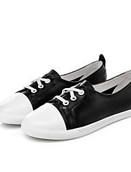 Homme-Décontracté-Noir / Blanc-Talon Plat-Confort-Sneakers-Cuir