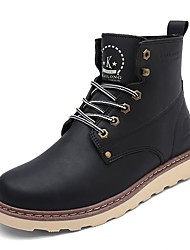 Men's Boots Spring Fall Winter Comfort Leather Outdoor Casual Low Heel Lace-up Black Brown Walking