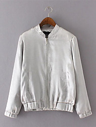 Women's Casual/Daily Simple Jackets,Solid Long Sleeve Winter White Nylon / Spandex