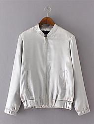Damen Solide Einfach Lässig/Alltäglich Jacke,Winter Langarm Weiß Nylon / Elasthan