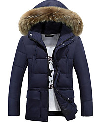 Men's Regular Down Coat,Simple Casual/Daily Plus Size Solid-Cotton Polyester Long Sleeves Hooded