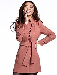 Women's Casual/Daily Simple Coat,Solid Long Sleeve Pink / Purple Others