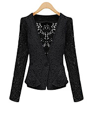Women's Casual/Daily Sophisticated Jackets,Solid V Neck Long Sleeve Spring / Fall White / Black Polyester Medium