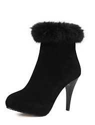 Women's Spikes Stilettos Solid Round Closed Toe Zipper Boots