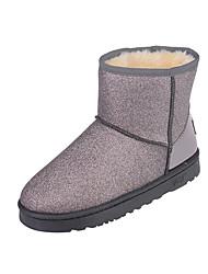 Women's Boots Winter Comfort Cashmere Casual Flat Heel Split Joint Black / Pink / Gray Walking