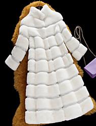 Feminino Casaco de Pelo Casual Simples Outono / Inverno,Sólido Colorido Pêlo de Coelho Rex Decote Redondo-Manga Longa Média