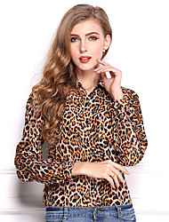 Women's Casual/Daily Boho Spring / Fall Shirt,Animal Print Standing Collar Long Sleeve Yellow Others Medium