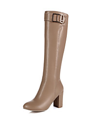 Women's Solid PU High-Heels Zipper Closed Pointed Toe Boots