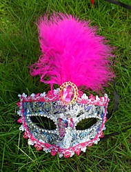 plume masque dentelle 1pc pour costume de halloween couleur aléatoire