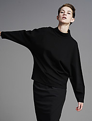 Damen Standard Hoodies-Ausgehen / Lässig/Alltäglich Einfach Solide Schwarz Rollkragen Langarm Polyester / Elasthan Herbst / Winter Mittel