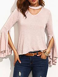 Tee-shirt Femme,Couleur Pleine Décontracté / Quotidien simple Automne / Hiver Manches Longues Col Arrondi Rose Coton Moyen