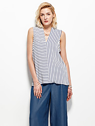 Women's Casual/Daily Simple Summer Tank TopStriped Round Neck Sleeveless White Polyester Thin