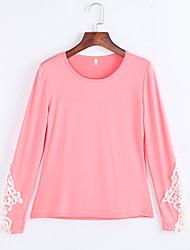 Tee-shirt Aux femmes,Couleur Pleine Décontracté / Quotidien simple Eté Manches Longues Col en U Bleu / Vert / Orange Acrylique / Polyester