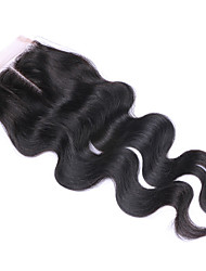 3.5x4 Inches Middle Part Body Wave Lace Closure with Blached Knots High Quality Brazilian Human Hair Closure Natural Looking