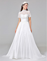 LAN TING BRIDE Ball Gown Wedding Dress See-Through Court Train High Neck Lace Taffeta with Ruche Sash / Ribbon