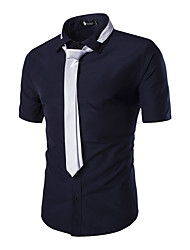 Men's  Summer Casual Vintage Business Solid color lapel Short Sleeve Cotton Shirt Presented a tie