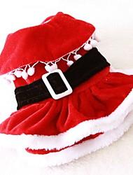 Gatos Perros Disfraces Vestidos Ropa para Perro Invierno Primavera/Otoño Un Color Adorable Cosplay Navidad Rojo