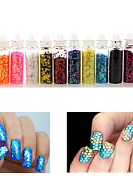 12 Colors Hexagon Glitter Shape Sequins Powder Nail Art Decorations