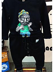 Jungen T-Shirt / Hose-Lässig/Alltäglich einfarbig Baumwolle Frühling / Herbst Schwarz / Weiß