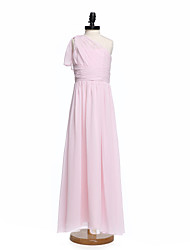 2017 Lanting Bride® Floor-length Chiffon Junior Bridesmaid Dress A-line One Shoulder with Sash / Ribbon / Side Draping
