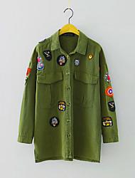 Women's Going out Street chic Jackets,Print Shirt Collar Long Sleeve Fall / Winter Green Polyester Medium