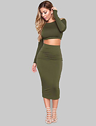 Women's Formal / Party/Cocktail Sexy Spring / Fall T-shirt Skirt Suits,Solid Round Neck Long Sleeve Green Cotton / Polyester Medium