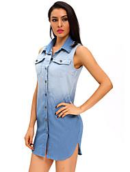 Women's Button Down Sleeveless Denim Shirt Dress