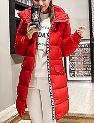 Women's Long Padded Coat,Simple Plus Size / Going out / Casual/Daily Solid / Letter-Polyester Cotton Long Sleeve Hooded Multi-color