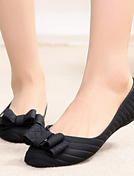 Women's Flats Spring Summer Comfort PVC Casual Flat Heel Bowknot Black Blue Burgundy Almond Others