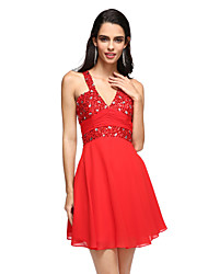 Cocktail Party Dress - Open Back A-line V-neck Short / Mini Chiffon with Beading Side Draping